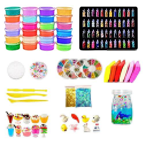 Lipeed Kit de Cristal para niños, niñas, Juego de mucosidad de Bricolaje, moco, moco, con un moco de Cristal de 24 Colores, Brillo en Polvo y más para artesanías para niñas de Regalo