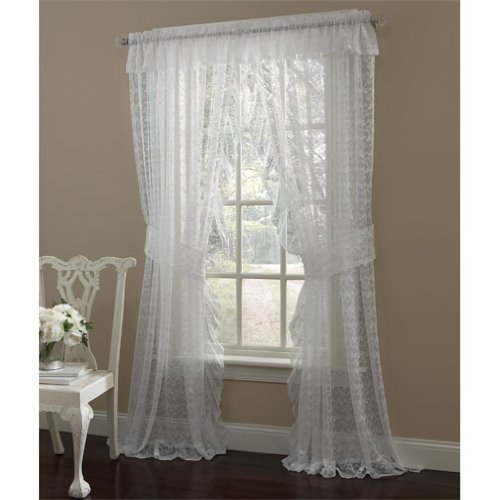 """84"""" Long White Priscilla Ruffled Lace Curtain Pair With Tiebacks"""