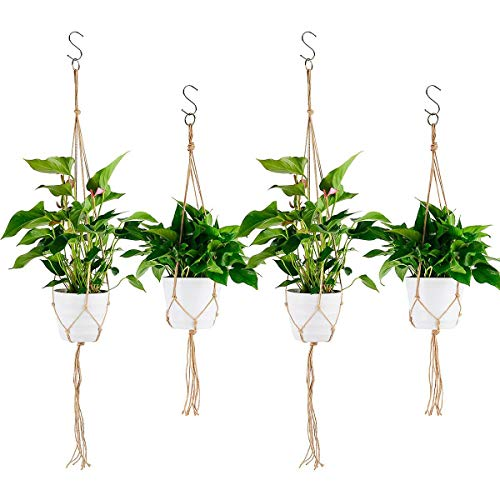 Ulikey 4 pcs Colgador para Plantas con Macramé, Colgante de Plantas Maceta, Titular de la Planta Suspensión Colgador para jardín Decoraciones Interior y Exterior (Color 2)