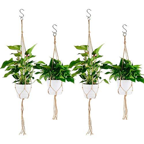 Ulikey 4 pcs Colgador para Plantas con Macramé, Colgante de Plantas Maceta, Titular de la Planta Suspensión Colgador para jardín Decoraciones Interior y Exterior (Color 4)