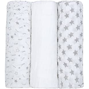 Customer reviews Newborn Baby Muslin Cloth Squares (3 Pack 76x76cm) 100% Cotton Swaddle Blanket For Boys & Girls:Viralbuzz
