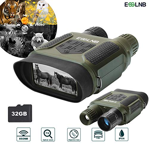 ESSLNB Night Vision Binoculars 400m/1300ft for 100% Full Darkness 7x31mm Night Vision Goggles with...
