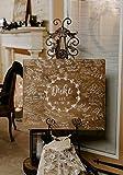 Derles Livre d'or Alternatif en Bois - Panneau d'entrée de Mariage - Feuille de Vigne et de Fleurs - Nom de Mariage