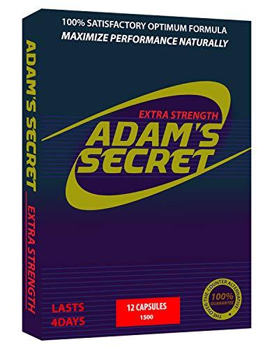 Natural Male Pill - ADAM'S SECRET 1500 Energy Supplement, Natural Amplifier for Men, Improve Energy and Endurance 12 Pills Per Pack