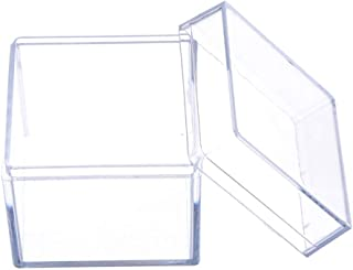 RUZYY Clear Acrylic 5 Sided Jewelry Display Storage Box Case Square Cube Props Box