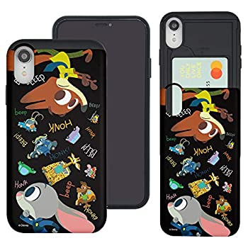 WiLLBee Compatible with iPhone XR Case Zootopia Dual Layer Card Slide Slot Wallet Bumper Cover - Zootopia Black