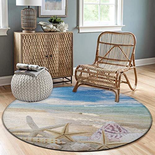 NiYoung Fashion Round Area Rugs Throw Rugs Super Soft Flannel Non-Slip Floor Carpet 3ft Diameter for Bedroom Living Room Nursery Decor (Ocean Beach Starfish Seashells Nature Starfish Shells)