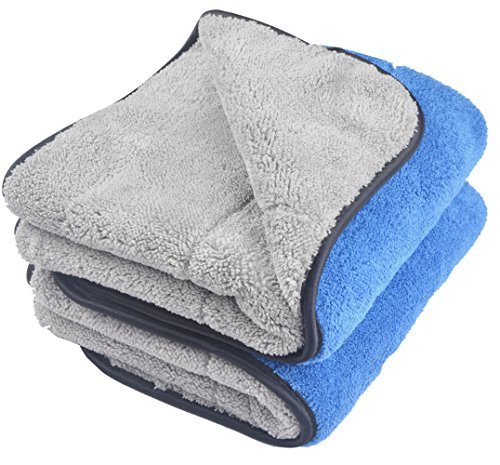 KinHwa Microfiber Car Cleaning Towels Ultra Thick Car Drying Towel Super Absorbent Car Wash Towels Drying Double Layers Plush 16Inch x 24Inch 2 Pack Blue/Grey