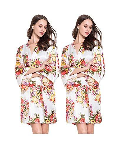 HaiDean dames ochtendjas lange mouwen V-hals kimono badjas bloemenprint nachthemd roze jongens chique blouse light pink