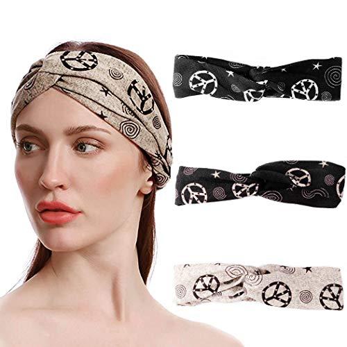 Bohend Boho Mode Stirnband Kamel Criss Crossc Elastisch Kopfbedeckung Sport Yoga Fitnessstudio Haar Zubehör zum Frauen und Mädchen (3pcs)