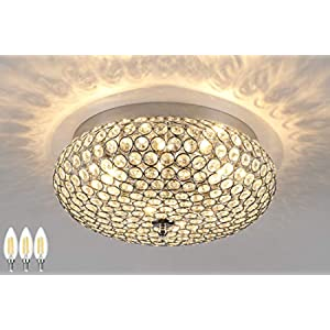 Amabao Lighting, 3-Light Chrome Finish Crystal LED Flush Mount Light Fixture, Ceiling Light Fixture for Bedroom, Living Room, Dining Room, Hallway, E12, 4WX 3 LED Bulbs Not Included