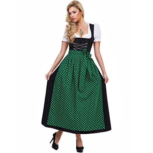 Almbock Langes Dirndl Luisa schwarz mit grüner Schürze in Größe 36 38 40 42 44 46 - Trachten-Mode, Damen, festlich