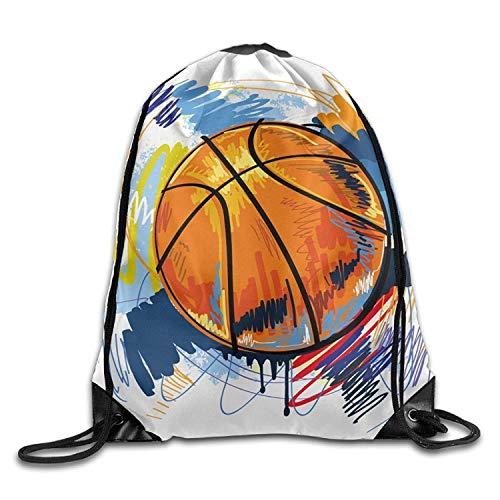 uykjuykj Tunnelzug Rucksäcke, Cartoon Art Basketball Christmas Unisex Gym Drawstring Shoulder Bag Backpack String Bags Lightweight Unique 17x14 IN