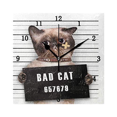 Reloj de Pared Bad Cat, silencioso, sin tictac, Funciona con Pilas, fácil de Leer, Reloj de Pared Decorativo para Cocina, Dormitorio, baño, Sala de Estar, Aula