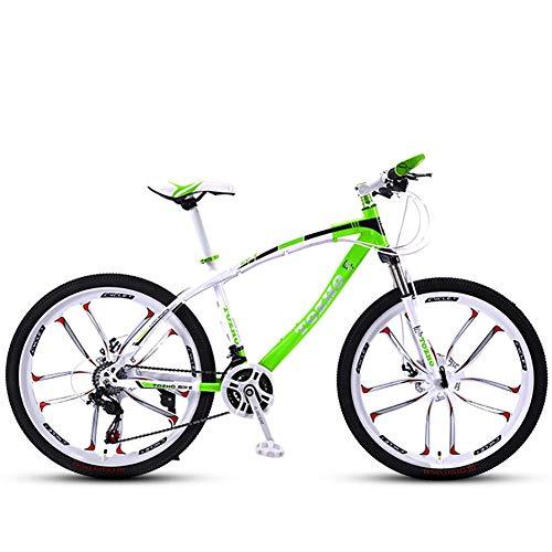 Unknow Bicicleta, 24 Pulgadas, Bicicleta de montaña, suspensión de Horquilla, Bicicleta para Adultos, Bicicleta para niños y niñas Velocidad Variable Absorción de Golpes Marco de Acero de Alto Carb