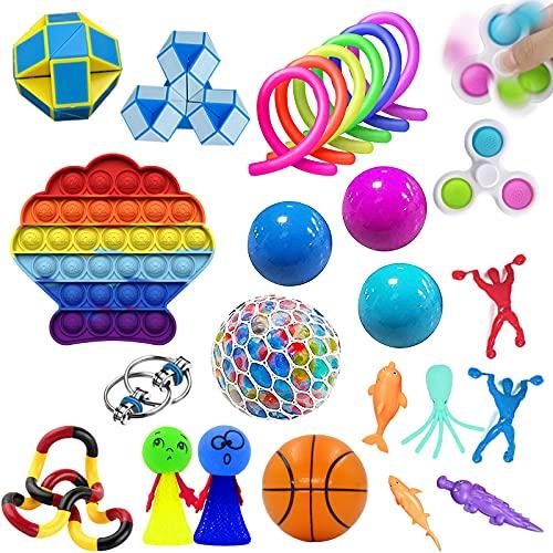 Zappeln Spielzeug Set 25 Stück Stressabbau Kits Zappeln Spielzeug Pack Autismus Spielzeug Stress Ball Zappeln Pack Sensorisches Spielzeug für autistische Kinder, Anti Stress Spielzeug Set