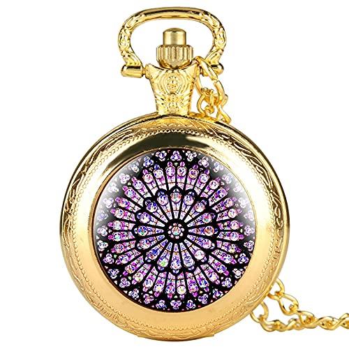 El rosetón vitral Notre Dame de Paris Catedral Reloj de Bolsillo de Cuarzo Colgante Collar de Cadena Regalo coleccionables únicos Oro