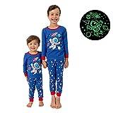 Little Jupiter Kids Pajamas for Boys with Glow In The Dark - Sleepwear for Children - Space 8yr