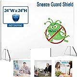 Protección Protecciones contra estornudos, 24' x 24' de Mesa para Pantalla Barrera Acrílico Protección de plexiglás con la Ventana de transacciones de Ventas Contador de recepción o salón de...