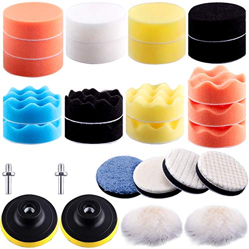 SIQUK 28 Pieces Polishing Pads Kit 75mm Buffing Pads Car Foam Polish Pads Polisher Attachment for Drill