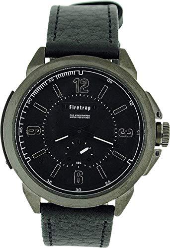 Firetrap orologio analogico uomo quadrante e sub quadrante nero cinturino pelle nero FT1007W