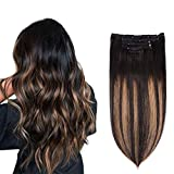 5 Pieces 16' Remy Clip in Hair Extensions Human Hair Natural...