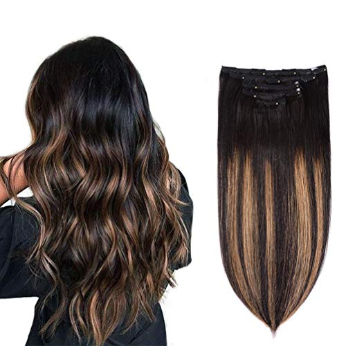"5 Pieces 20"" Remy Clip in Hair Extensions Human Hair Natural Black to Chestnut Brown Highlight Ombre - Silky Straight Short Thick Real Hair Extensions for Women (20 inches, (1BT6) P1B, 100grams)"