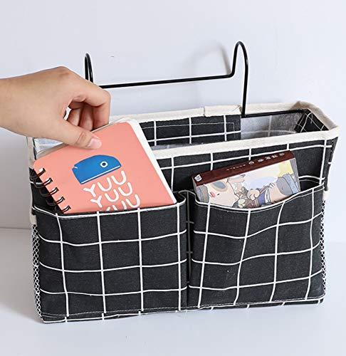 Sängförvaring organisatör hängande väska, tidningsbok telefon surfplatta iPad kablar fjärrkontroll för hem sovsal säng soffa, våningssäng och sjukhussängar, högskola sovsal rum baby sängskenor, läger förvaringsväska ficka (svart)