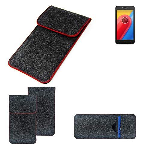K-S-Trade Handy Schutz Hülle Für Lenovo Moto C LTE Schutzhülle Handyhülle Filztasche Pouch Tasche Hülle Sleeve Filzhülle Dunkelgrau Roter Rand