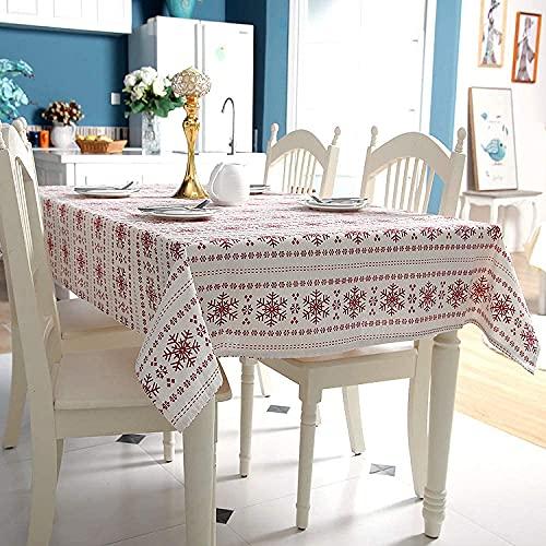 Family Life Equipment Tischdecken Rechteckige Tischdecke Polyester Baumwollgewebe Nachahmung Leinen Tischdecken Rote Schneeflocke bedruckte Tischdecke Weihnachten Tischdecke (Color : Big Snowflake