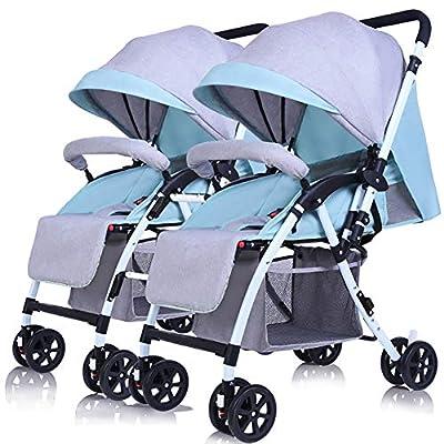 Guo@ Cochecito de bebé doble desmontable puede sentarse y acostarse Ligero Carro de cama plegable plegable reversible (Color : Linen Mint green)