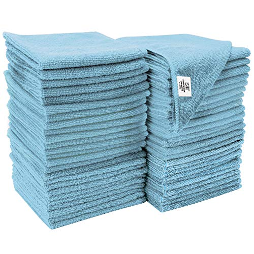 S&T INC. Microfiber Cleaning Cloths, Reusable and Lint-Free Towels for Home, Kitchen and Auto, 50...