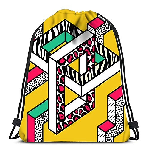 Bapa Drawstring Bag Abstract Memphis Patterns with 3D Geometric Shapes Fashion 80S 90S Fabric Design Drawstring Hiking Bapa Gym Bag