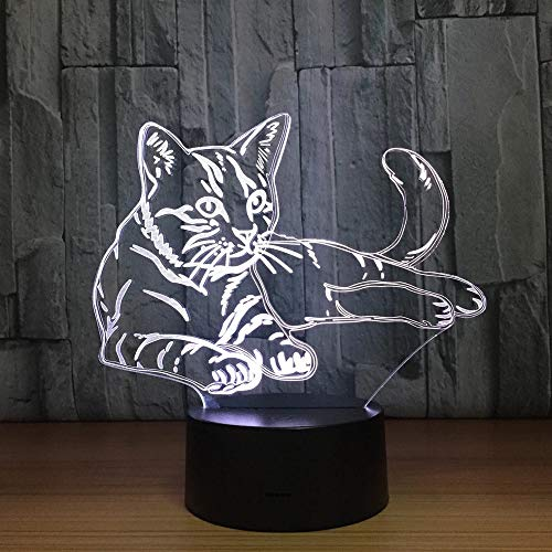 Cute cat 3D Night Light Touch Switch LED Animal 3D Light 7-Color USB Slider Light Home Decoration as a Children's Toy Birthday Gift