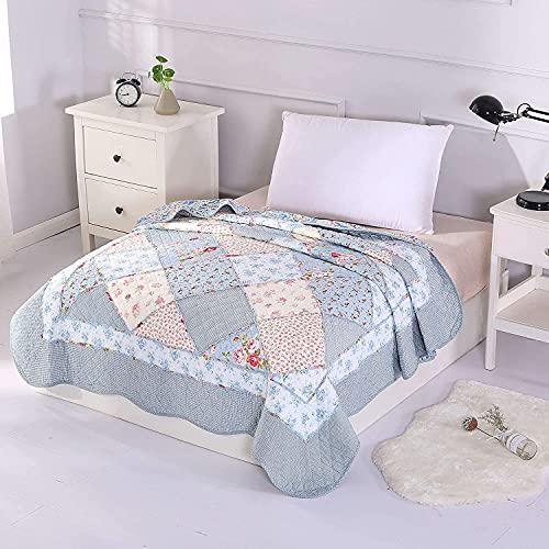 Alicemall Copriletto, coperta da soggiorno, estivo, in cotone, trapuntato, patchwork, per letto singolo, 150 x 200 cm, Cotone, Motivo 20., Singolo