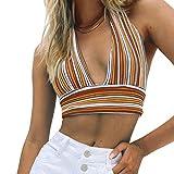 MISSACTIVER Women's Halter Backless Knitted Crop Top V Neck Bandage Stripe Crop Tank Top Vest Top (Small, Brown)