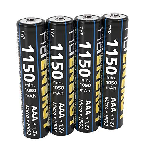 HEITECH AAA Akku Micro Typ 1150 1,2V NiMH - 4× Wiederaufladbare Batterien mit geringer Selbstentladung - Akkus für Geräte mit hohem Stromverbrauch