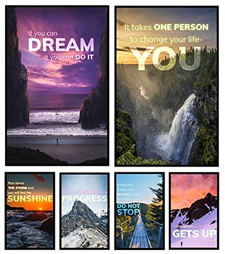 6 carteles inspiradores para arte de pared motivacional, decoración del gimnasio en casa, arte de pared de oficina