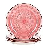 vancasso, Série Bella, 4 Pièces Assiette Plate à Dîner, Assiette Grande en Céramique, Motif Cercle Arbre- 27cm