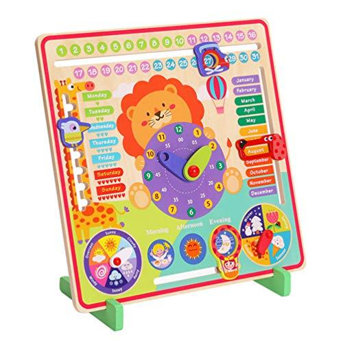 NUOBESTY Los Niños Todo sobre Hoy Tablero de Calendario Reloj de Madera Número de Juguete Reloj Deslizante Rompecabezas de Juguete Tablero Ocupado Montessori Juguetes Educativos para Niños