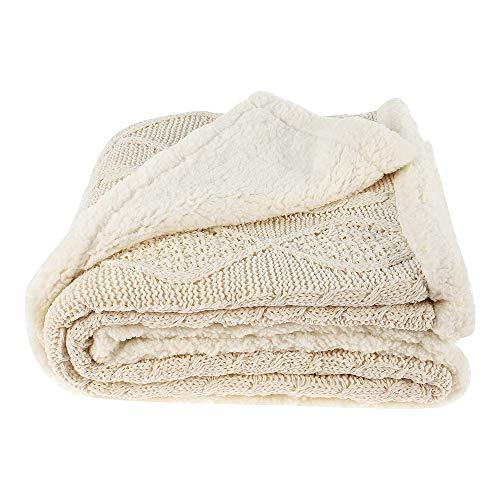 ODOMY Decke hochwertige Wohndecken Kuscheldecken, extra Dicke warm Sofadecke/Couchdecke in zweiseitig, super flausch Fleecedecke als Sofaüberwurf oder Wohnzimmerdecke (Beige, 150 * 200 cm)