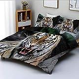 Juego de funda nórdica, cara de tigre con rugido, safari de vida silvestre, sabana, animal, naturaleza, zoológico, estampado fotográfico, juego de cama decorativo de 3 piezas con 2 fundas de almohada,