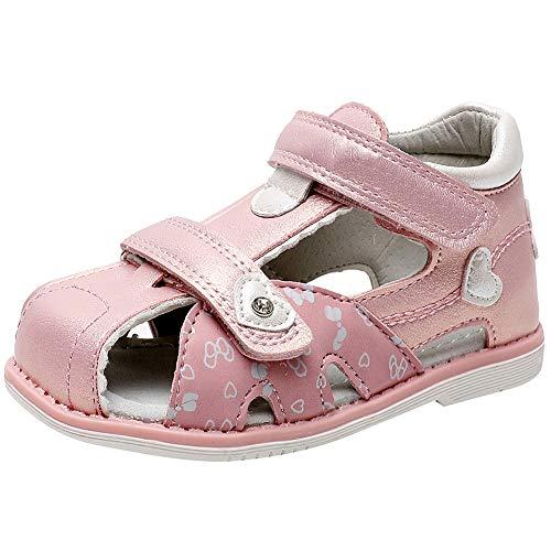 amropi Baby Mädchen Geschlossen Zehe Weiche Sohle Sandalen Riemchen Wander Schuhe (Pink,21 EU)