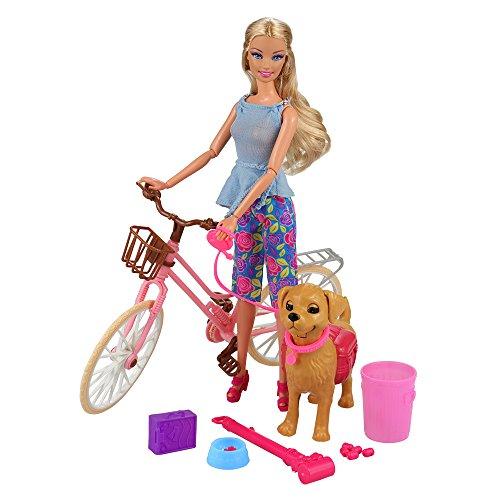 Miunana Fahrrad Hund Set für 11,5 Zoll Mädchen Puppen, Puppen Zubehör (Hund, Knochen, KOT, Schaufel, Müll, Knochen Aufbewahrungsbox)