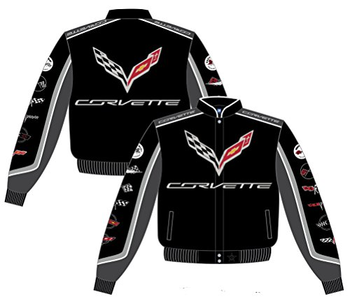 Chevy Corvette Collage Mens Black Twill Jacket by JH Design (S)