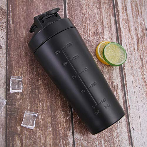 Jusemoa - Botella de agua de acero inoxidable para deportes al aire libre de una sola capa, 960 ml-negro_960 ml