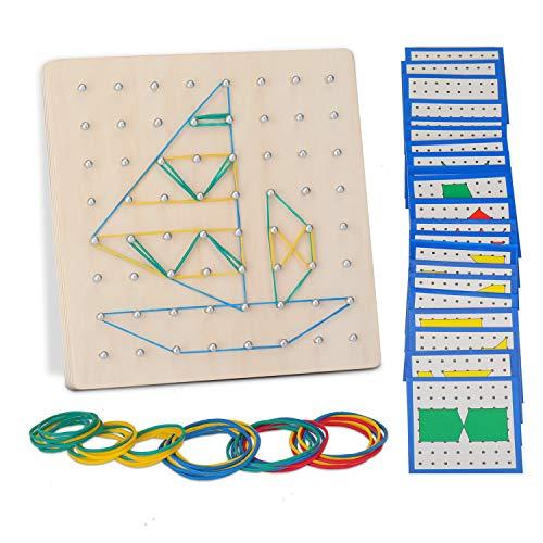 EKKONG Geoboard de Madera, Montessori Juguete Creativo Gráficos de Goma Corbata Placas de Uñas con Tarjetas de Actividad y Bandas de Goma, Aprendizaje Educación Juguete para Niños (17*17*1.5)