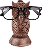 Owl Spectacle Holder Display Stand | Wood Hand Craved | Brown Color | Wooden Tabletop Countertop Accessories | Optical Glass Protection | Home Office Desk Supplies | Home Decor | Decoration Gifts