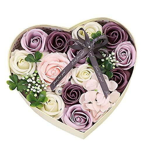 QWERTYUKJ Flor Eterna con Luces Rosa De Auténtica Idea Regalo Original para Ella Novia Novio Mujer San Valentín Bodas Decoración (Color : C)