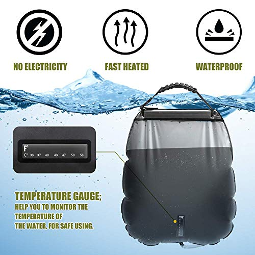 51TcSH2Vb7L - ASANMU Camping Shower Bag, 20L Solar Shower Bag Outdoor Solar Heating Portable Outdoor Shower Bag with Removable Hose and Switchable Shower Head, for Traveling Beach Swimming Garden Hiking - Black